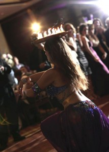 Hire Belly dancer New York Mariyah with candles at a wedding at Hilton Staten Island NY- Photo by Matt Ramos